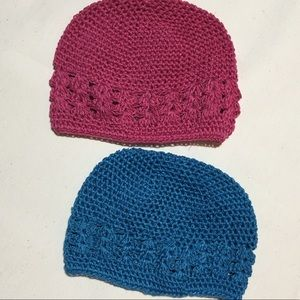 Hand knitted and dyed baby beanies